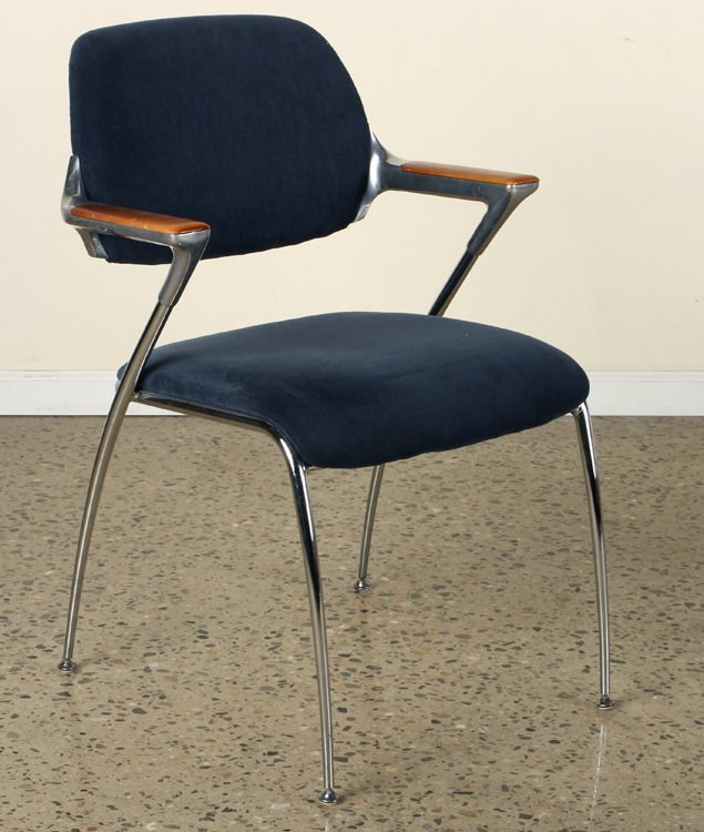 PAIR WOOD CHROME CHAIRS UPHOLSTERED BY THONET