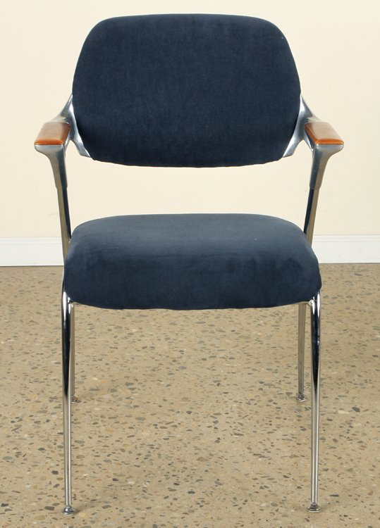PAIR WOOD CHROME CHAIRS UPHOLSTERED BY THONET - 2