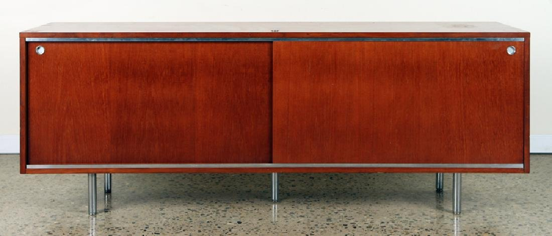 MAHOGANY CHROME CREDENZA MANNER OF HERMAN MILLER