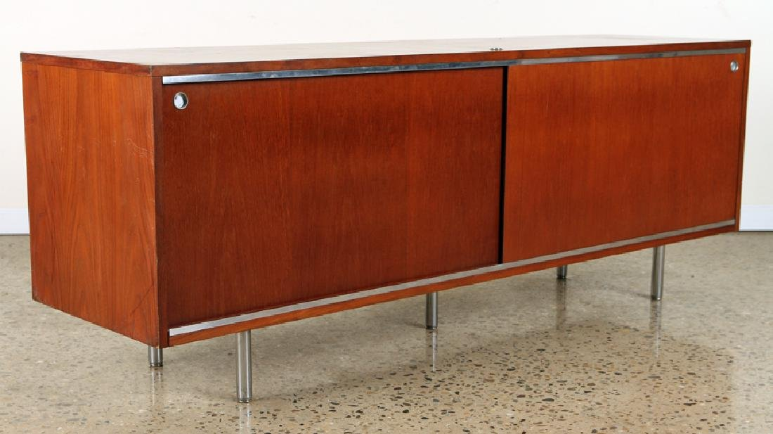MAHOGANY CHROME CREDENZA MANNER OF HERMAN MILLER - 2