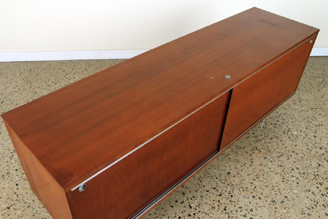 MAHOGANY CHROME CREDENZA MANNER OF HERMAN MILLER - 3