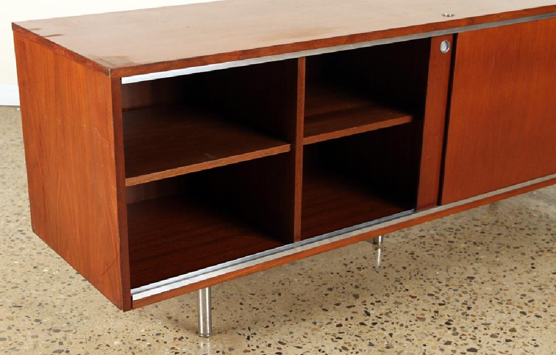 MAHOGANY CHROME CREDENZA MANNER OF HERMAN MILLER - 4