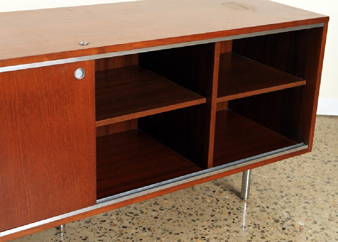 MAHOGANY CHROME CREDENZA MANNER OF HERMAN MILLER - 5