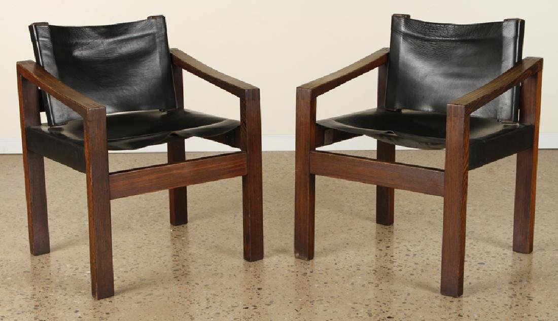PAIR CAMPAIGN STYLE WENGE WOOD ARM CHAIRS C.1960