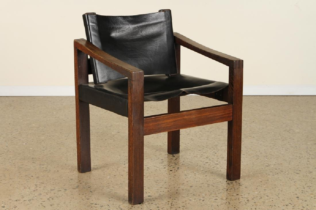 PAIR CAMPAIGN STYLE WENGE WOOD ARM CHAIRS C.1960 - 2