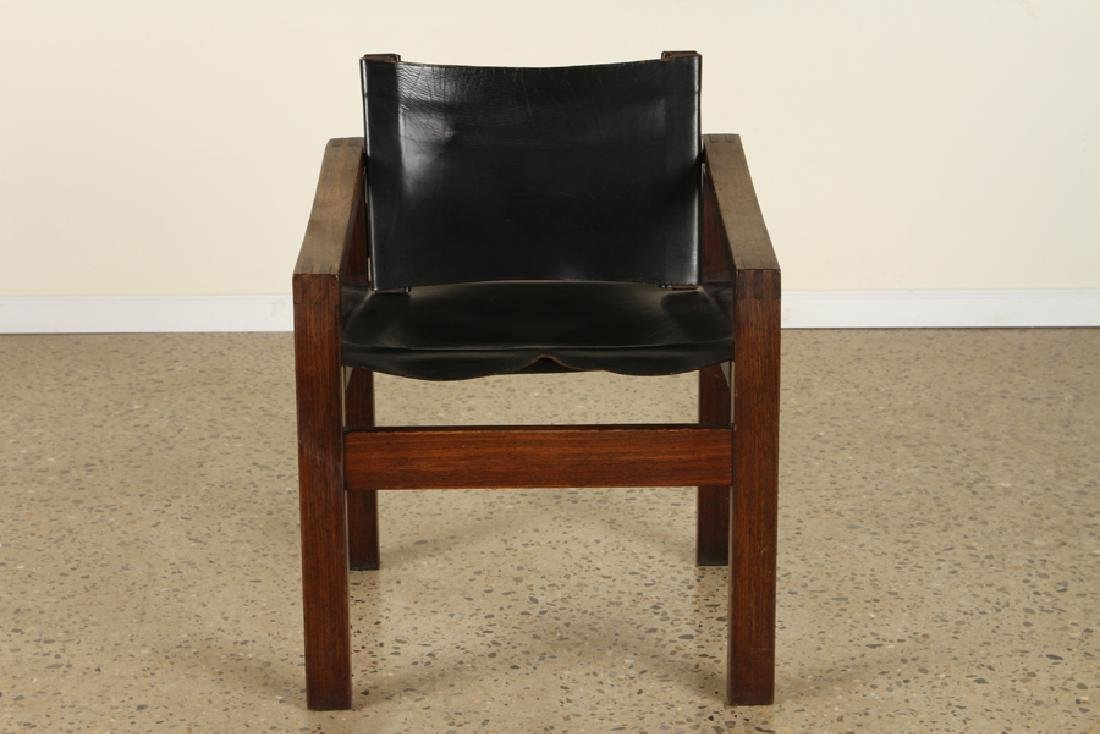 PAIR CAMPAIGN STYLE WENGE WOOD ARM CHAIRS C.1960 - 3