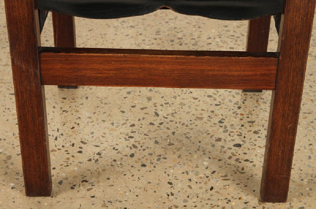 PAIR CAMPAIGN STYLE WENGE WOOD ARM CHAIRS C.1960 - 6