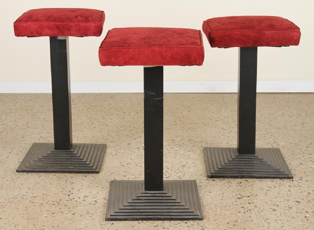 SET 3 ITALIAN IRON BAR STOOLS UPHOLSTERED SEAT