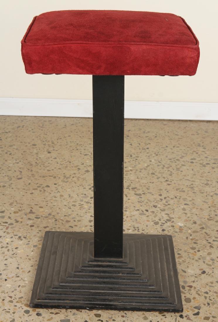 SET 3 ITALIAN IRON BAR STOOLS UPHOLSTERED SEAT - 2