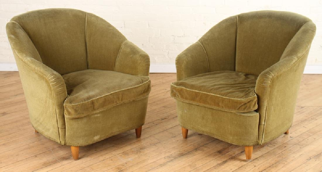 PAIR ITALIAN MID CENTURY MODERN ARM CHAIRS C.1950
