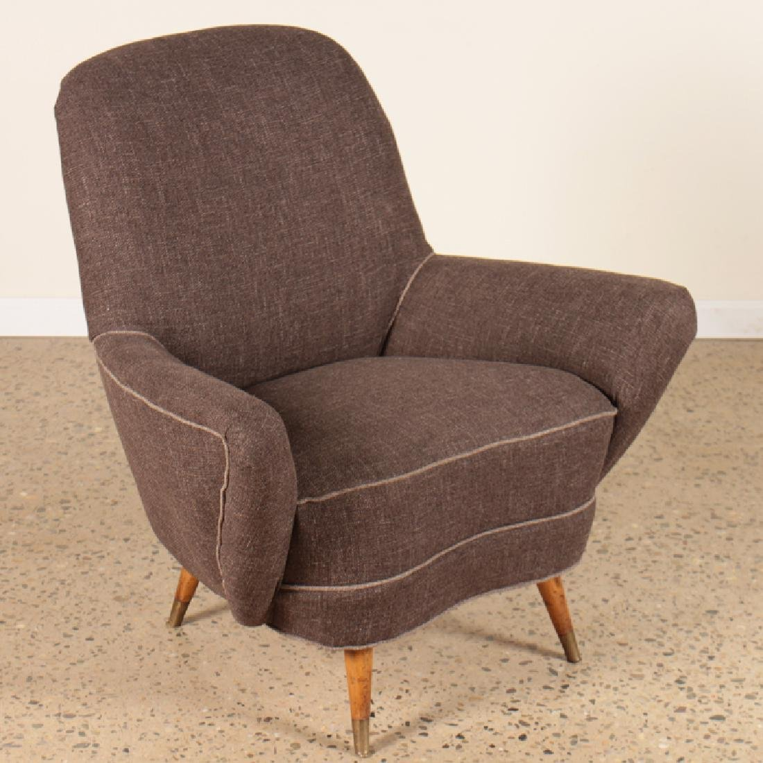 PAIR MID CENTURY MODERN UPHOLSTERED CLUB CHAIRS - 2