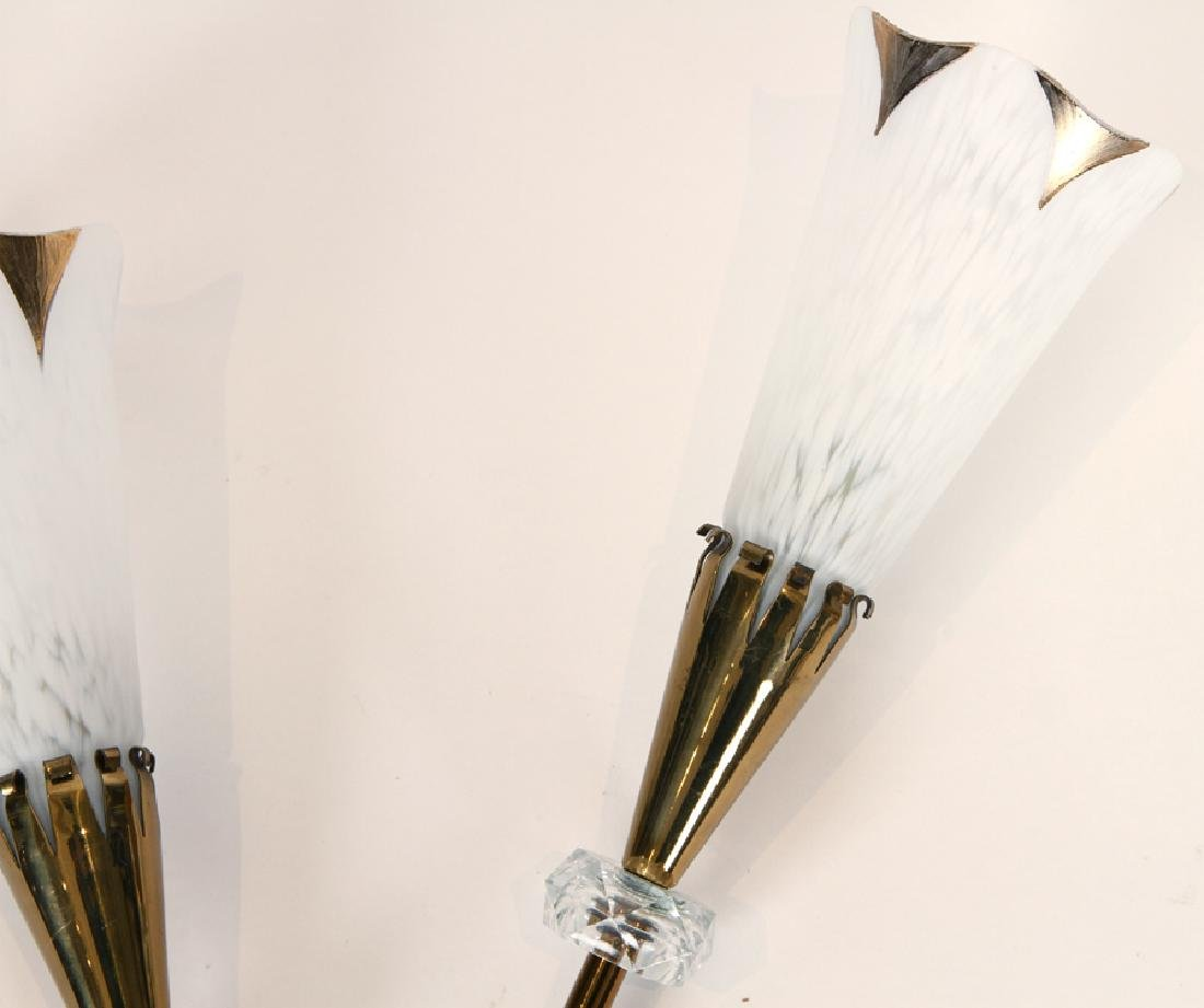 A PAIR FRENCH BRONZE CRYSTAL WALL SCONCES C.1960 - 3