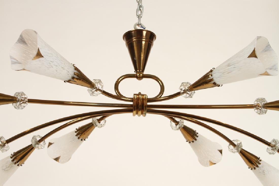 BRONZE AND CRYSTAL FRENCH CHANDELIER C. 1960 - 5
