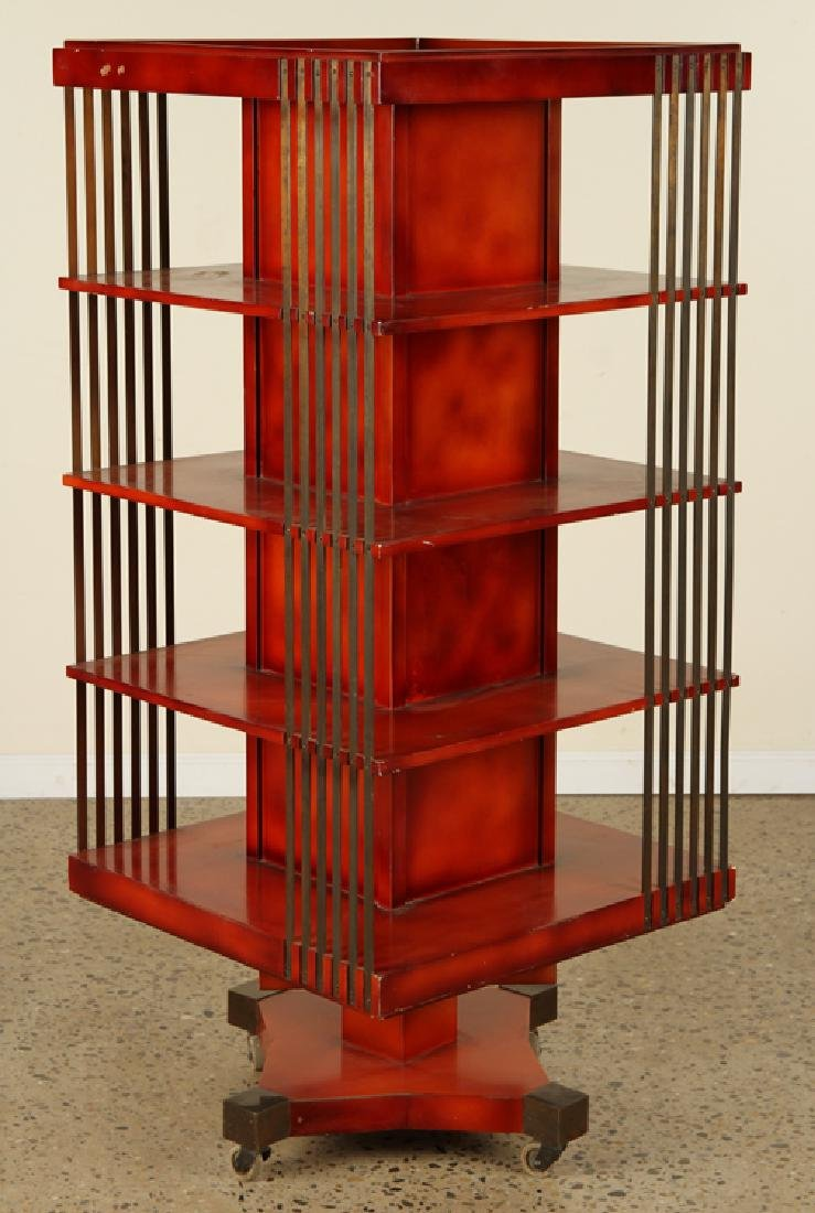 FRENCH REVOLVING BOOKCASE ATTR. TO MAISON JANSEN