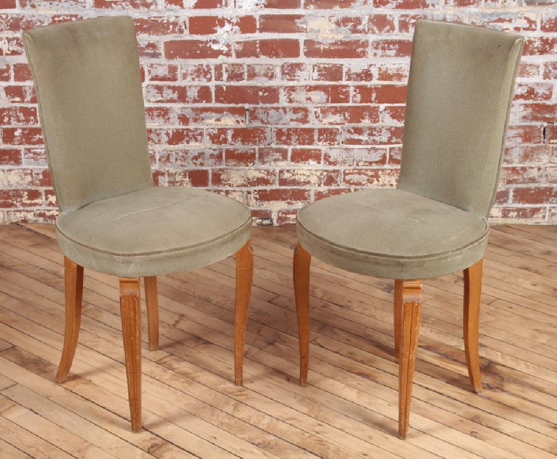PETITE PAIR FRENCH UPHOLSTERED SIDE CHAIRS C.1950