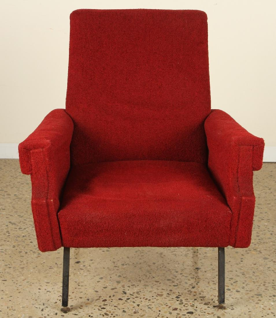PAIR MID CENTURY MODERN UPHOLSTERED CLUB CHAIRS - 3