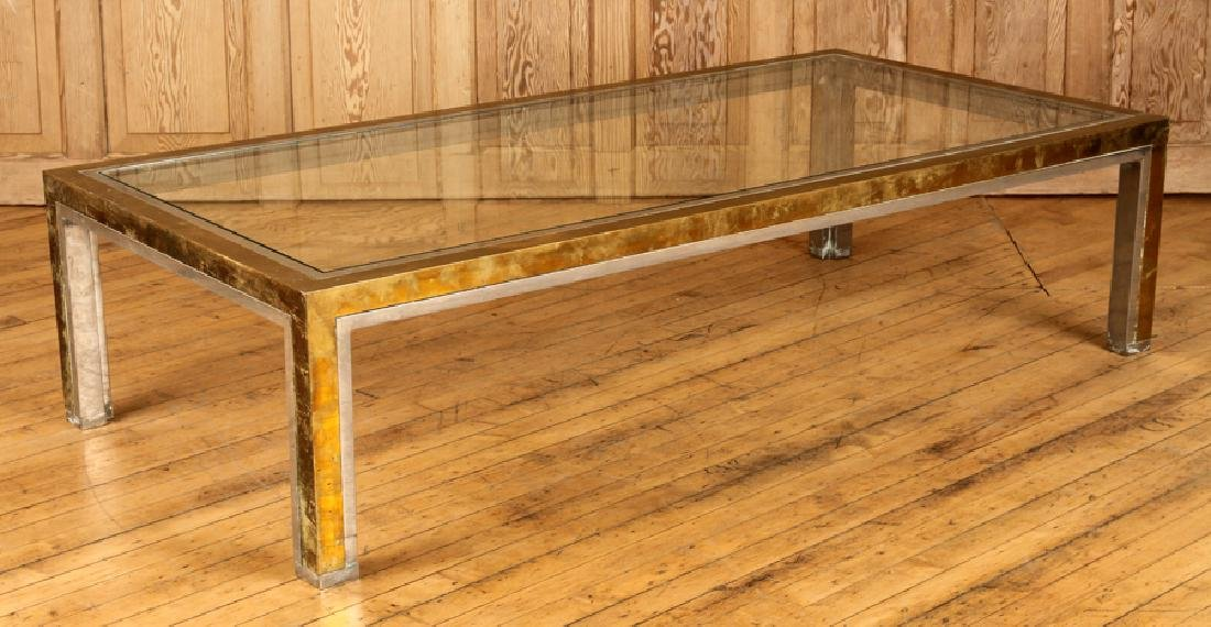 BRASS CHROME COFFEE TABLE ATTR. TO WILLY RIZZO