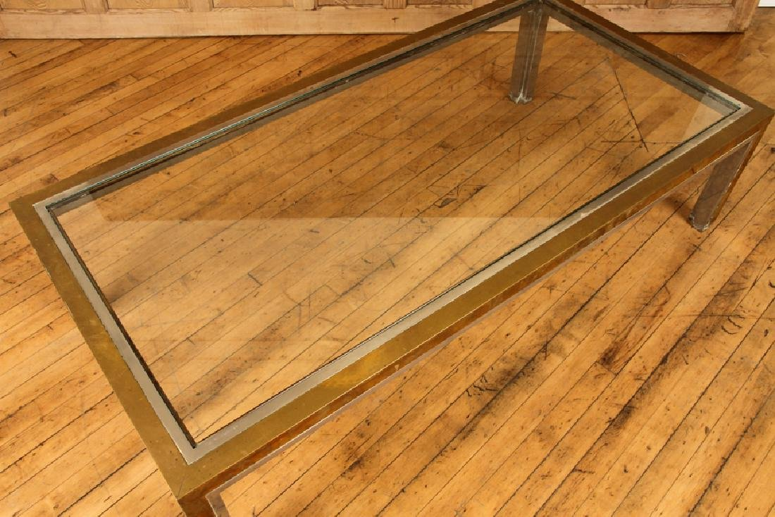 BRASS CHROME COFFEE TABLE ATTR. TO WILLY RIZZO - 2