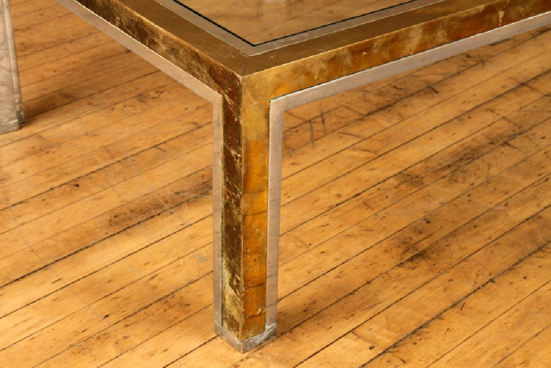 BRASS CHROME COFFEE TABLE ATTR. TO WILLY RIZZO - 3