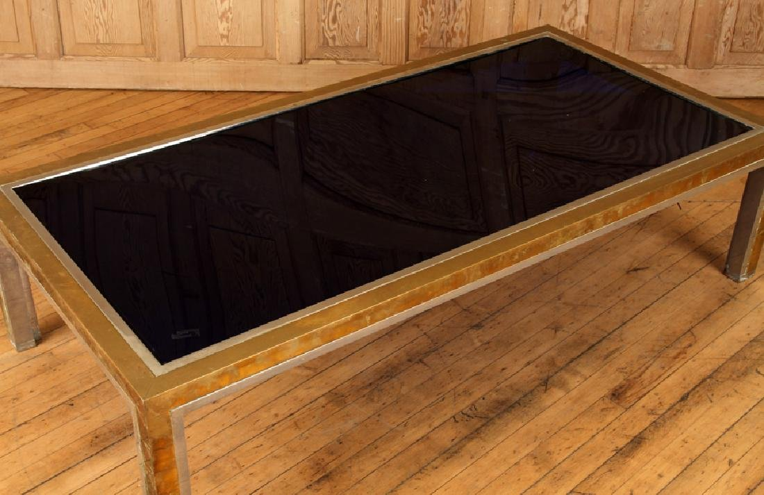 BRASS CHROME COFFEE TABLE ATTR. TO WILLY RIZZO - 4