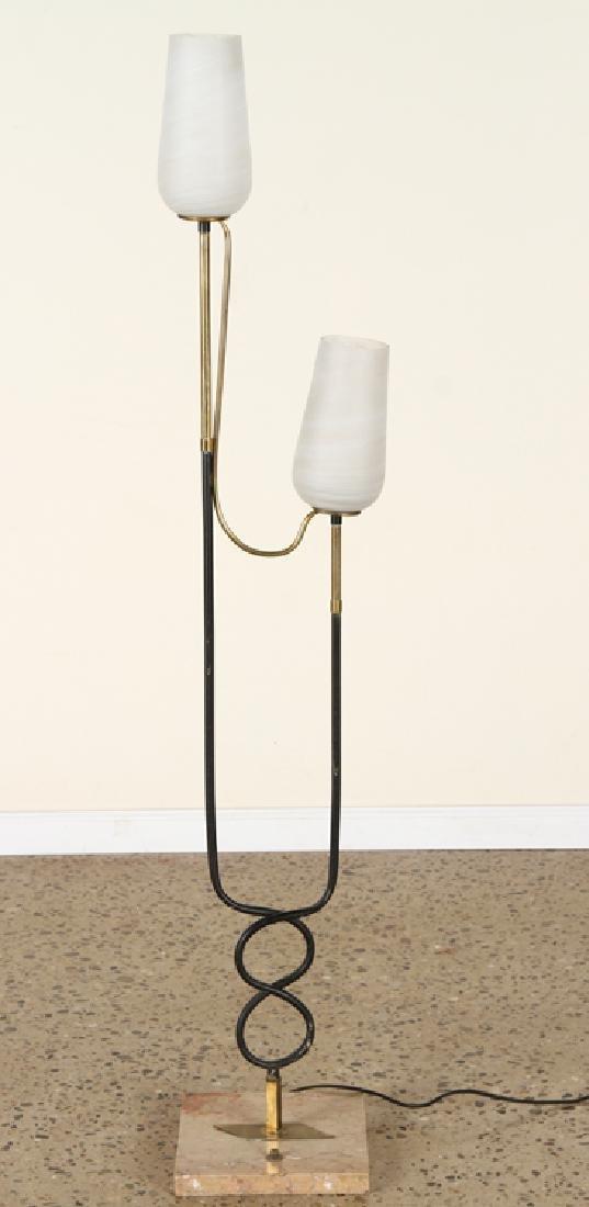 ITALIAN BRASS IRON TULIP FORM FLOOR LAMP C.1960