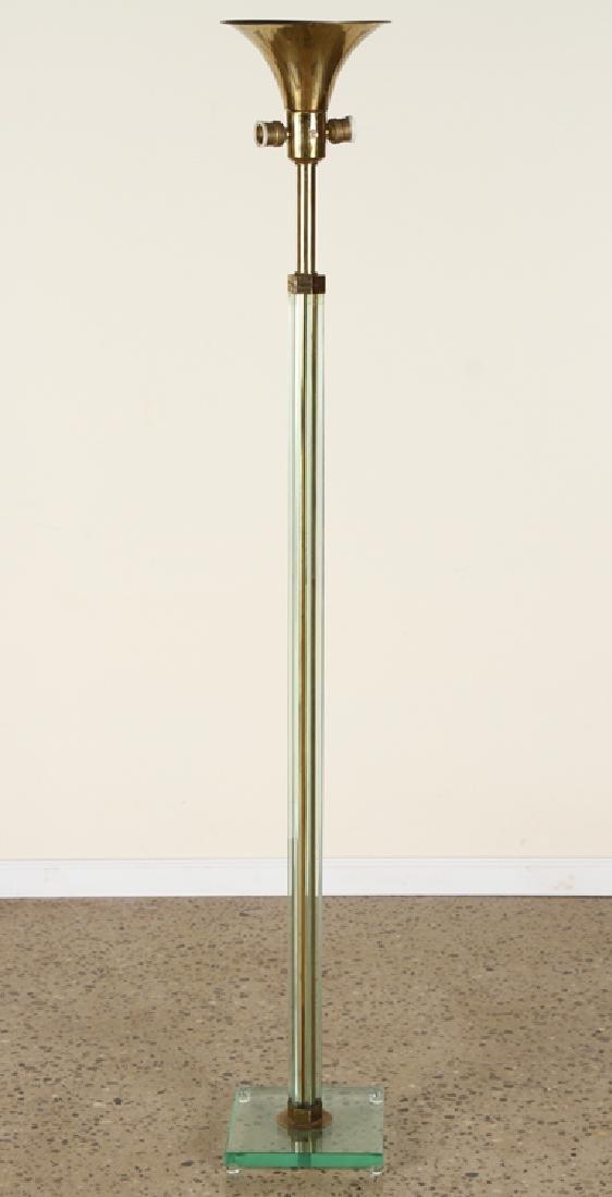 ITALIAN GLASS AND BRASS 3-LIGHT FLOOR LAMP C.1960