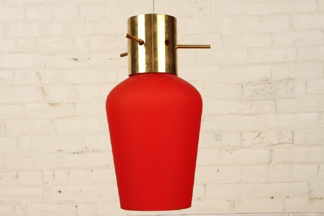ITALIAN BRASS GLASS HANGING PENDANT LIGHT C.1960 - 5