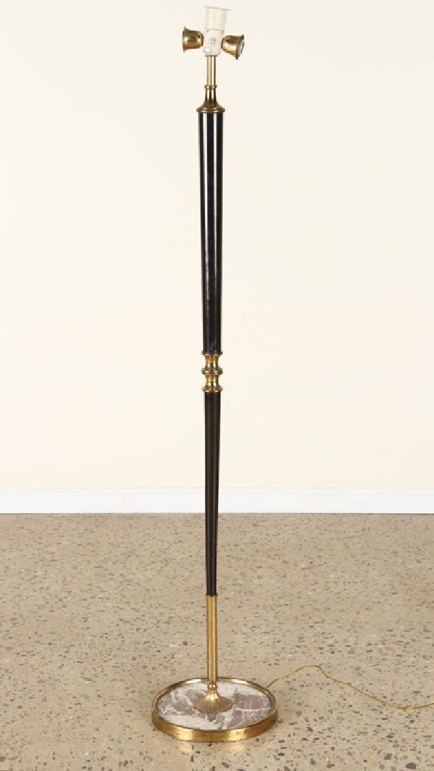 ITALIAN BRASS WOOD FLOOR LAMP MARBLE BASE C.1960