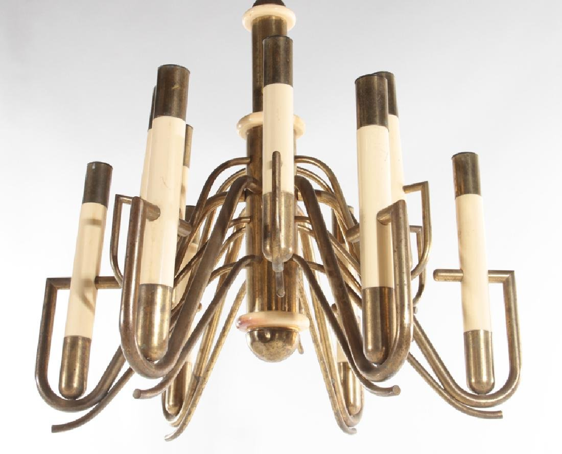 ITALIAN 12 ARM BRASS IVORY COLORED CHANDELIER