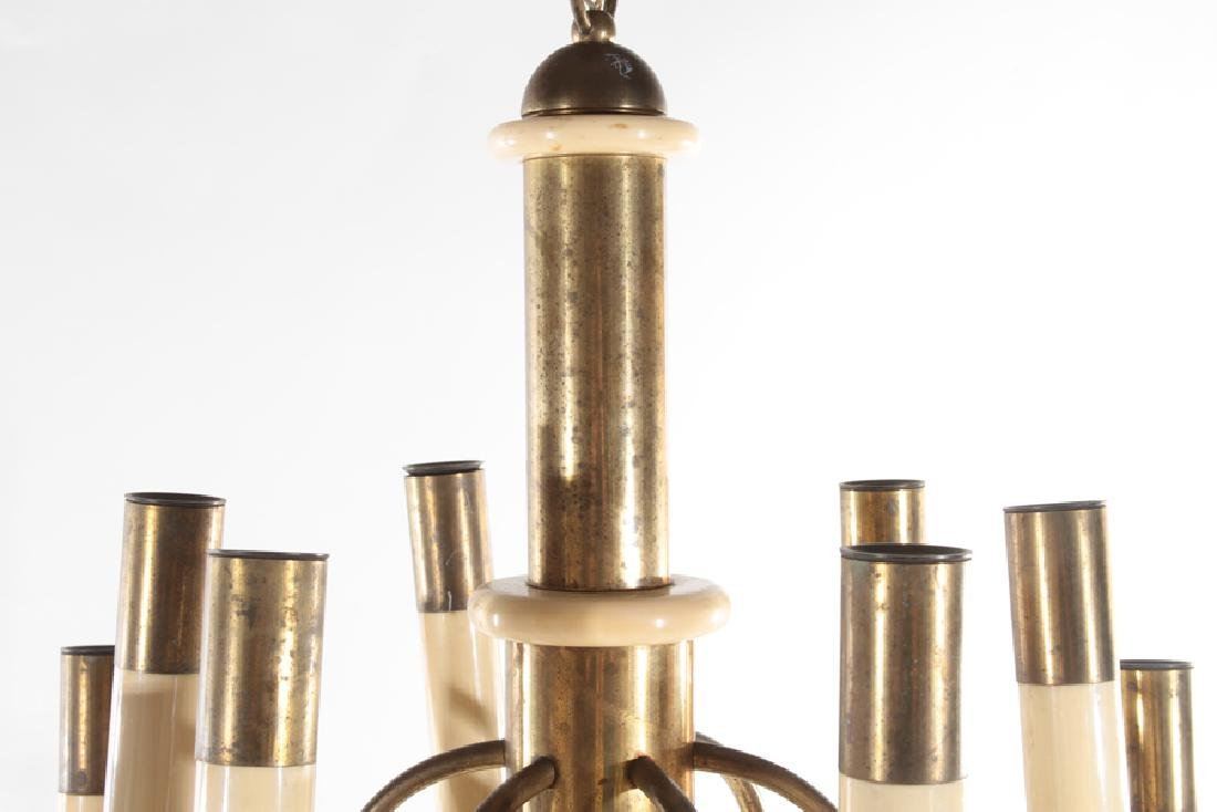 ITALIAN 12 ARM BRASS IVORY COLORED CHANDELIER - 2