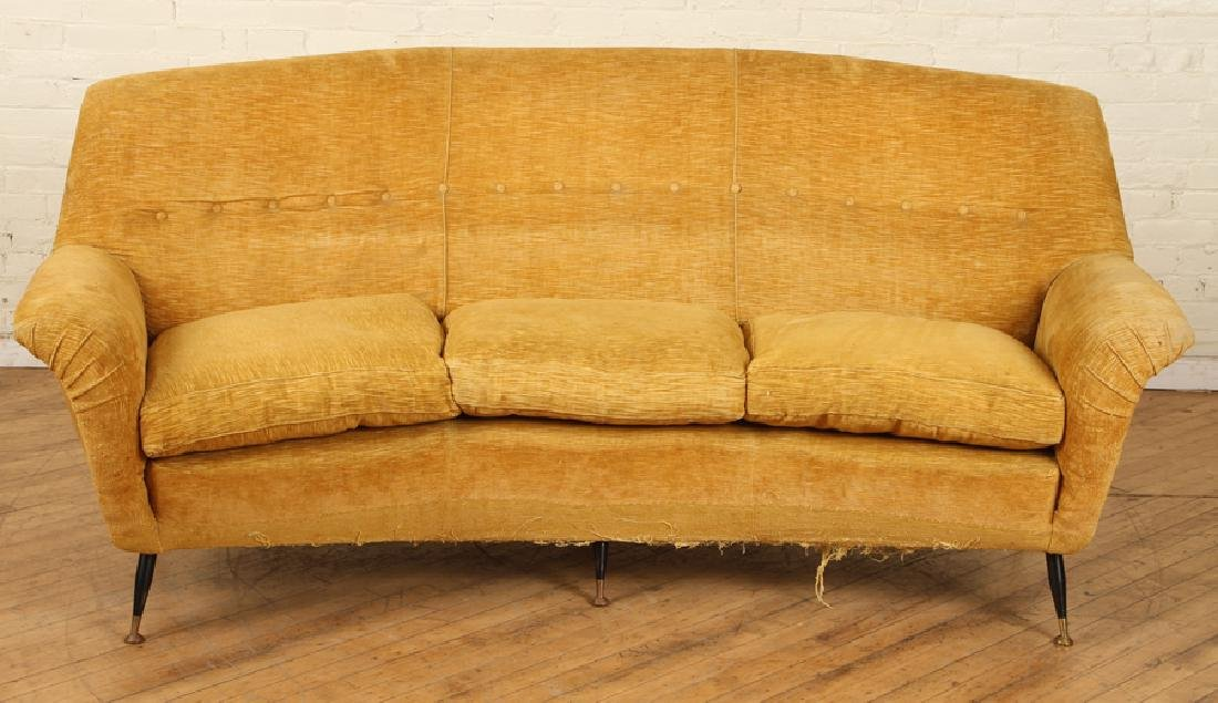 ITALIAN CURVED TUFTED UPHOLSTERED SOFA C.1950