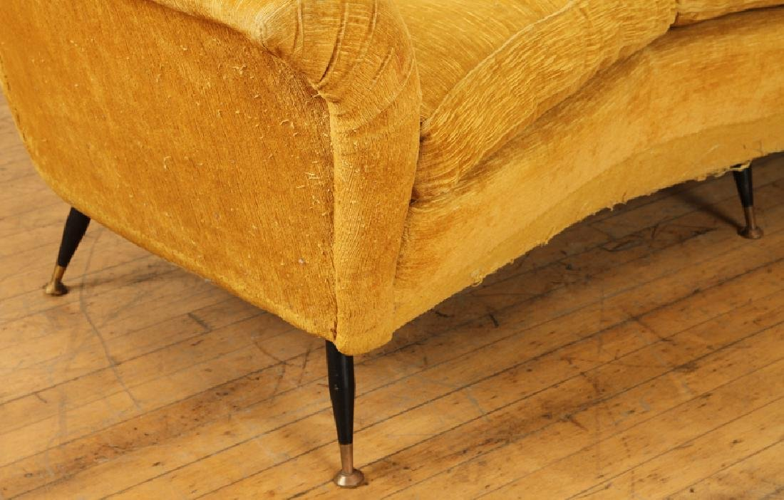ITALIAN CURVED TUFTED UPHOLSTERED SOFA C.1950 - 4