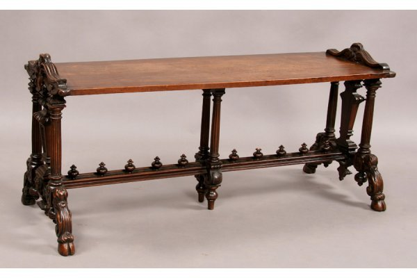 298: Italian carved walnut bench