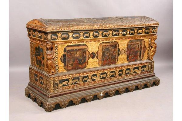 299: Antique Continental painted parcel gilt cassone