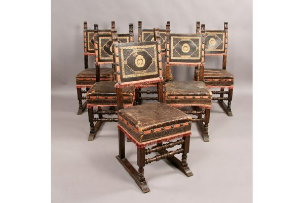 302: Set of 6 walnut Rennassiance style leather chairs