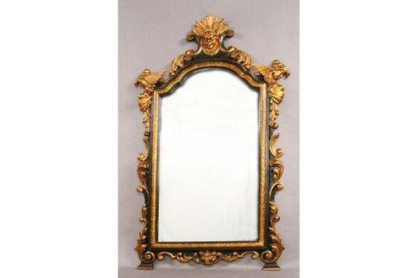 304: Antique French carved wood figural mirror