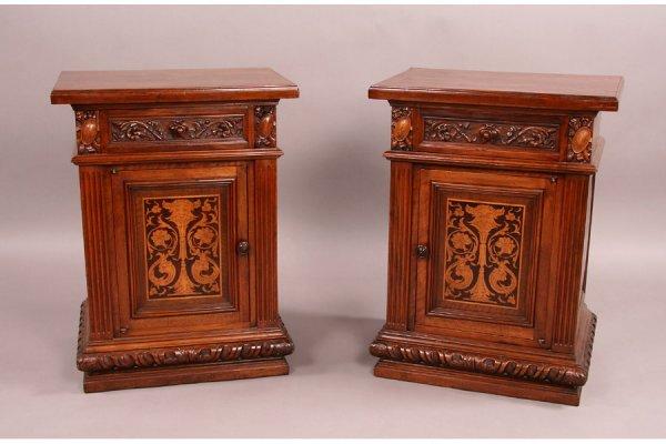 305: Pair Italian antique walnut side cabinets