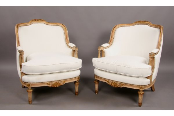 308: Pair French bergere chairs Louis XVI style