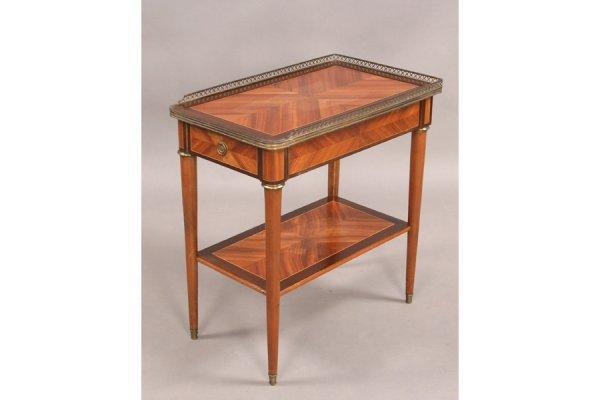 310: Cabinet made parquetry and bronze end table