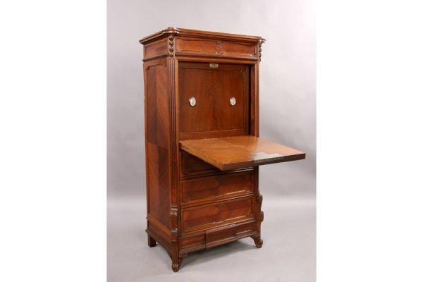 311: Antique carved walnut abbatant concealed safe