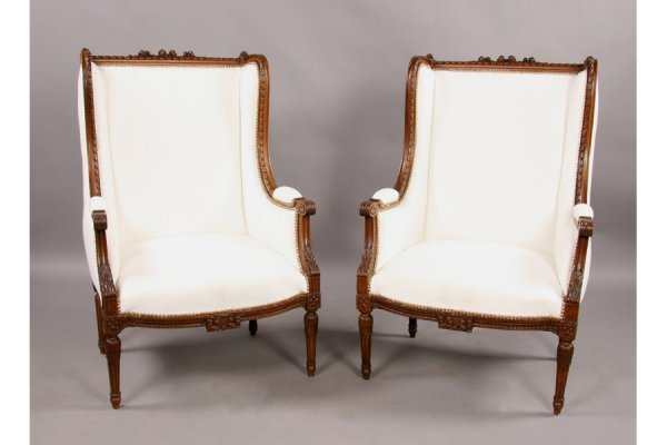 312: Pair Louis XVI style carved walnut bergere chairs