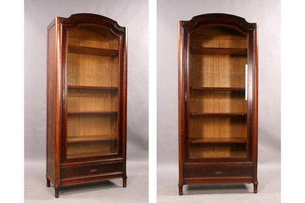 313: Pr antique French carved wood glassfront bookcase