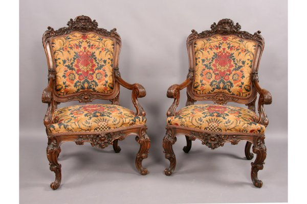 316: Antique pr French Regency carved open arm chairs