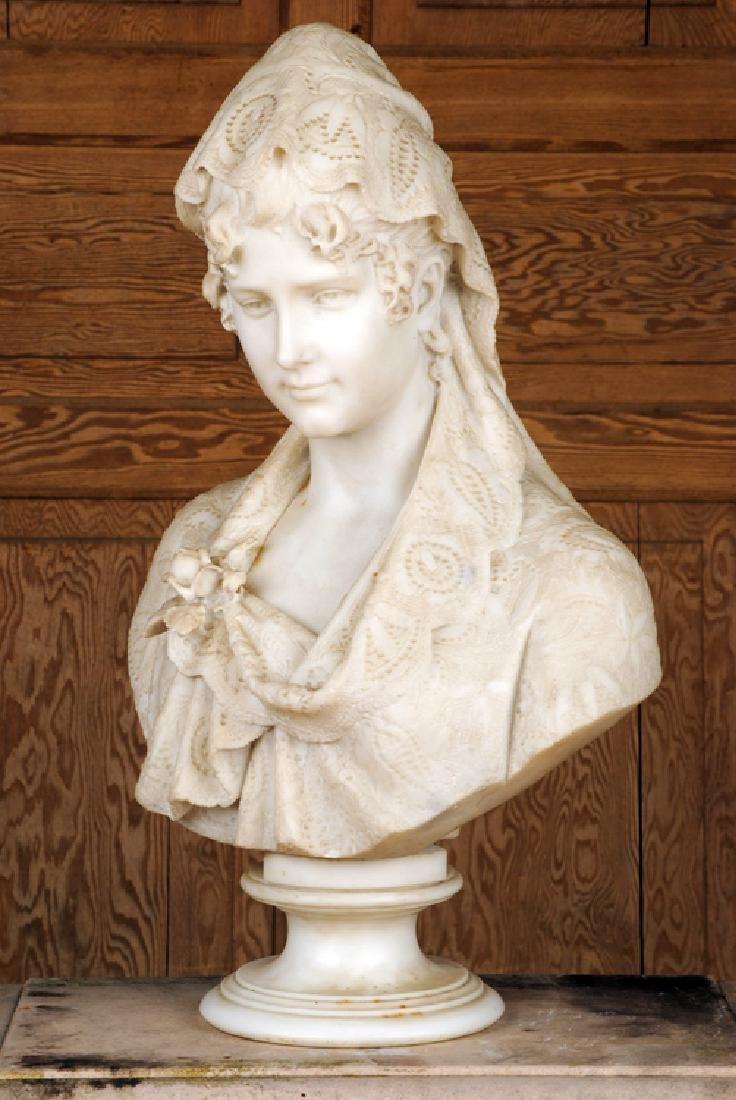 CESARE LAPINI SIGNED ALABASTER SCULPTURE OF WOMAN