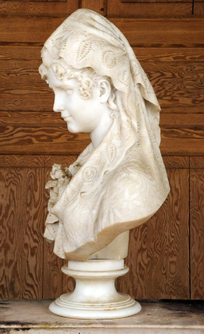 CESARE LAPINI SIGNED ALABASTER SCULPTURE OF WOMAN - 4
