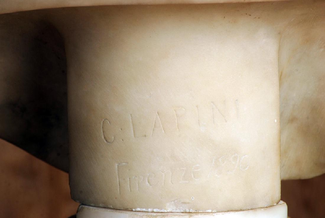 CESARE LAPINI SIGNED ALABASTER SCULPTURE OF WOMAN - 6