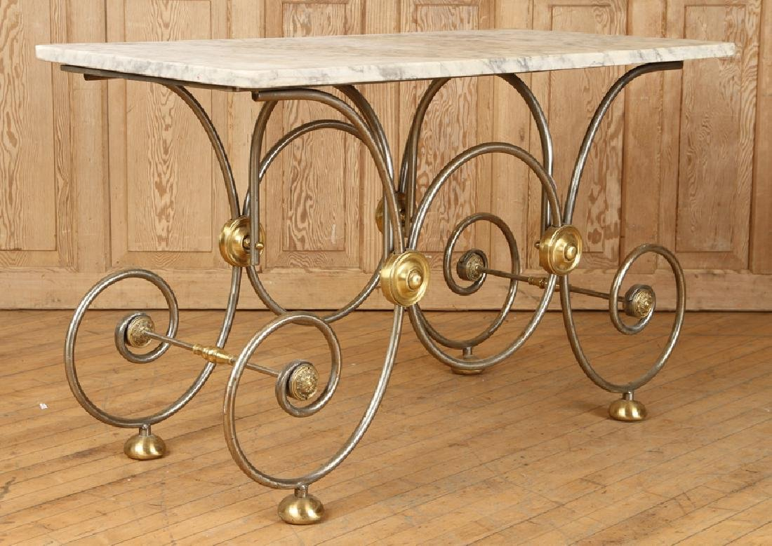 STEEL AND BRASS BAKERS TABLE CARRARA MARBLE TOP