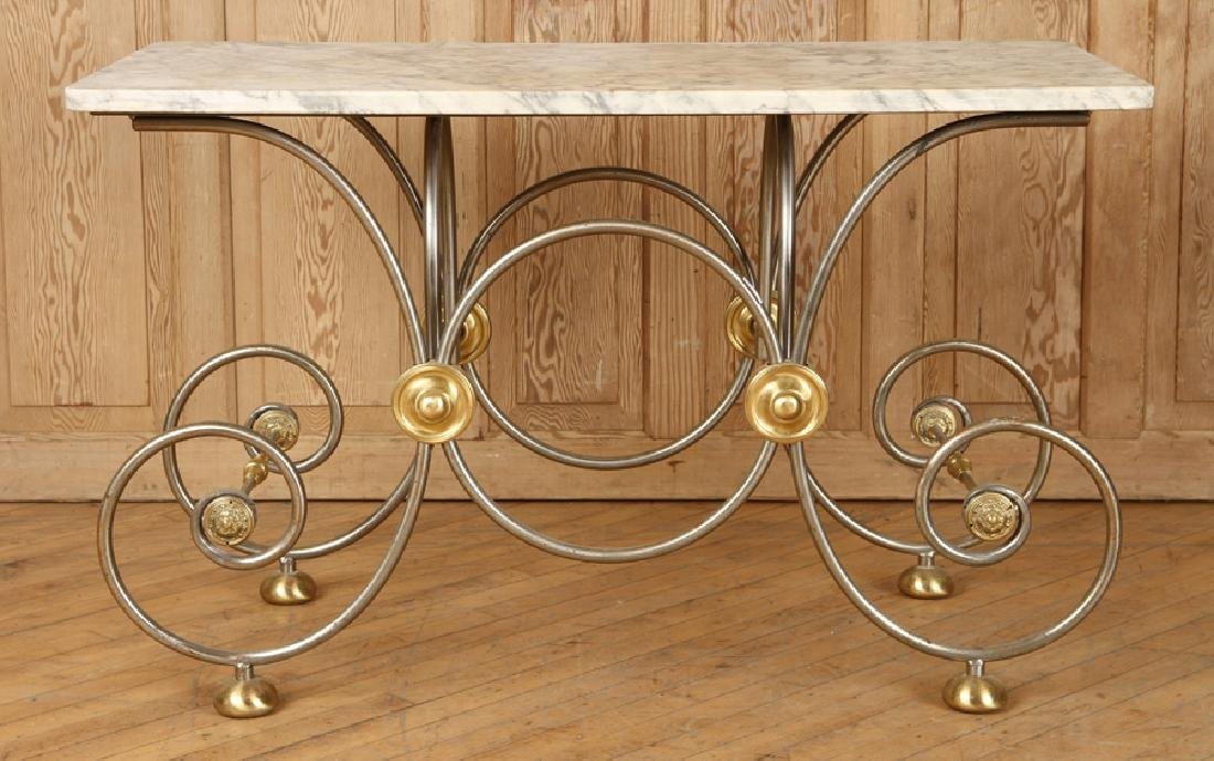 STEEL AND BRASS BAKERS TABLE CARRARA MARBLE TOP - 2