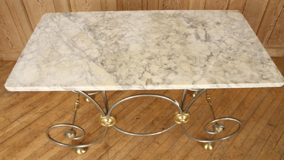 STEEL AND BRASS BAKERS TABLE CARRARA MARBLE TOP - 3