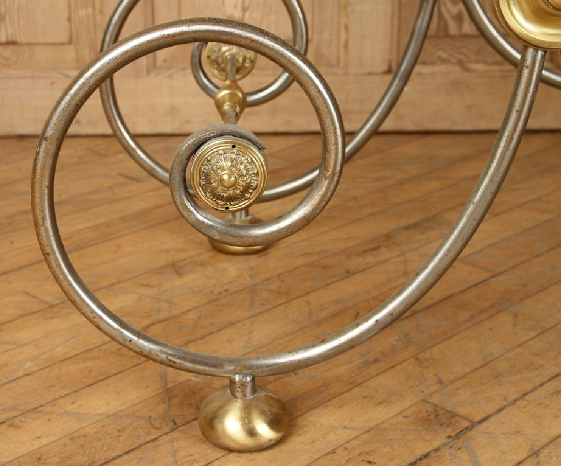 STEEL AND BRASS BAKERS TABLE CARRARA MARBLE TOP - 5
